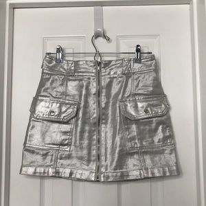Forever 21 Metallic Silver Zip Up Skirt
